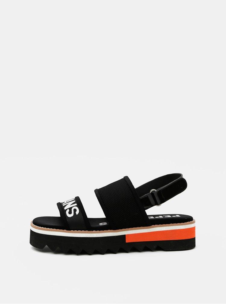 Černé dámské sandály na platformě Pepe Jeans