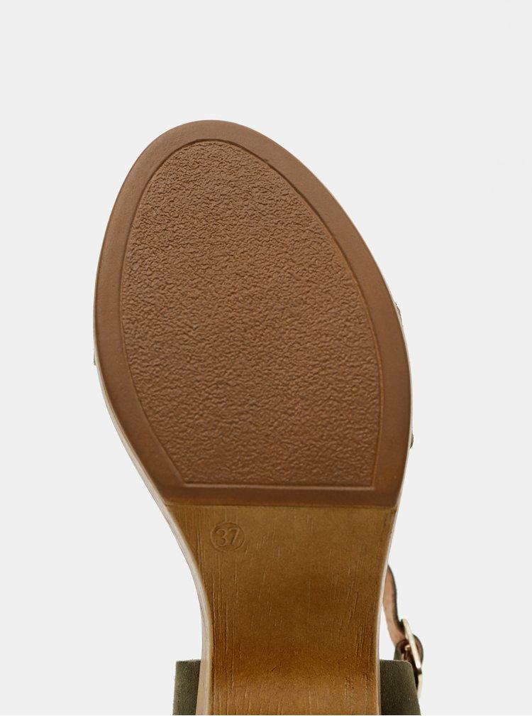 Tmavě zelené semišové sandálky OJJU