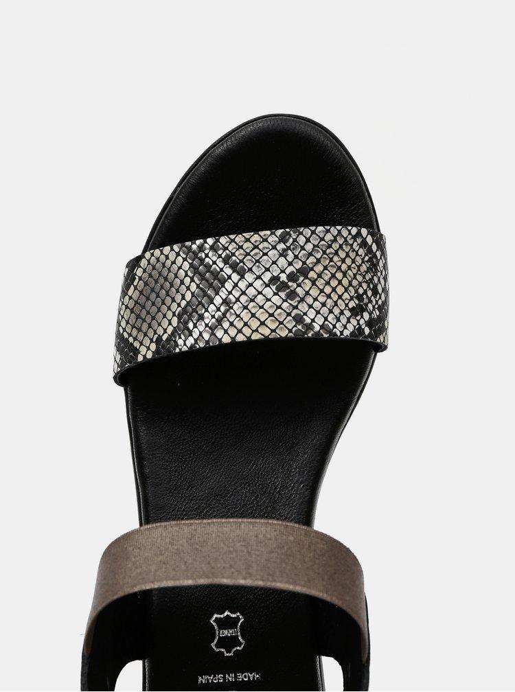 Čierne kožené sandálky s hadím vzorom OJJU