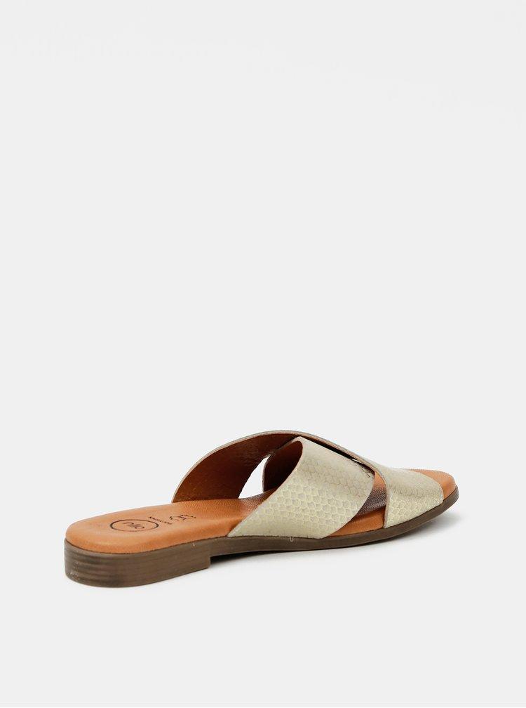 Kožené pantofle ve zlaté barvě OJJU