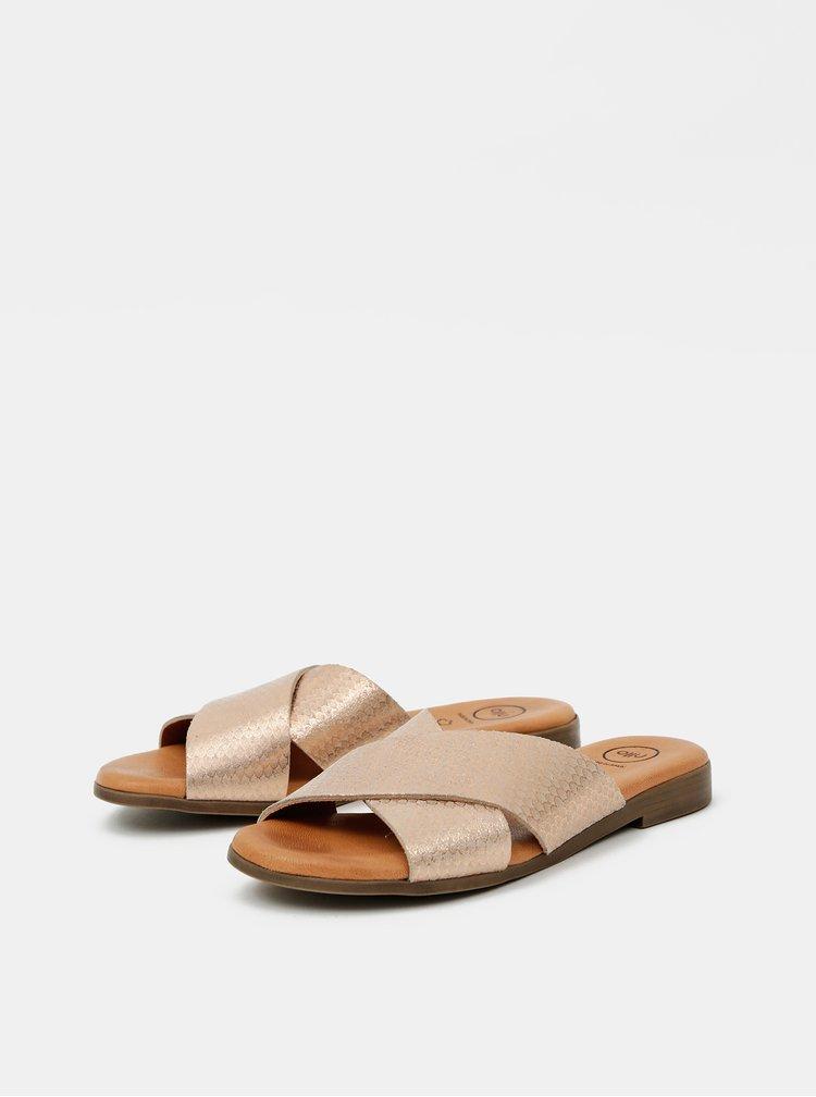 Kožené pantofle v růžovozlaté barvě OJJU