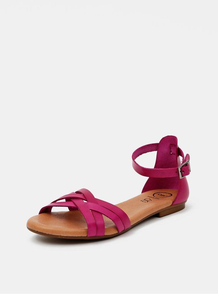 Tmavě růžové kožené sandály OJJU