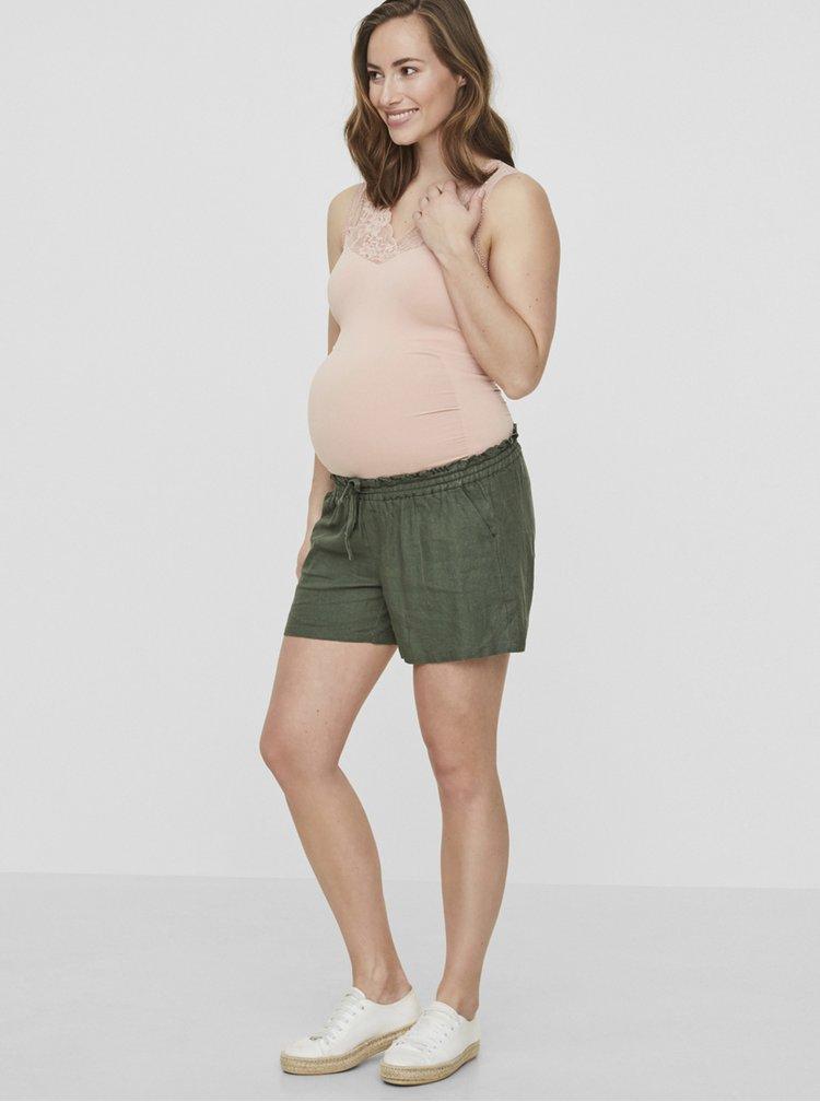 Khaki těhotenské lněné kraťasy Mama.licious