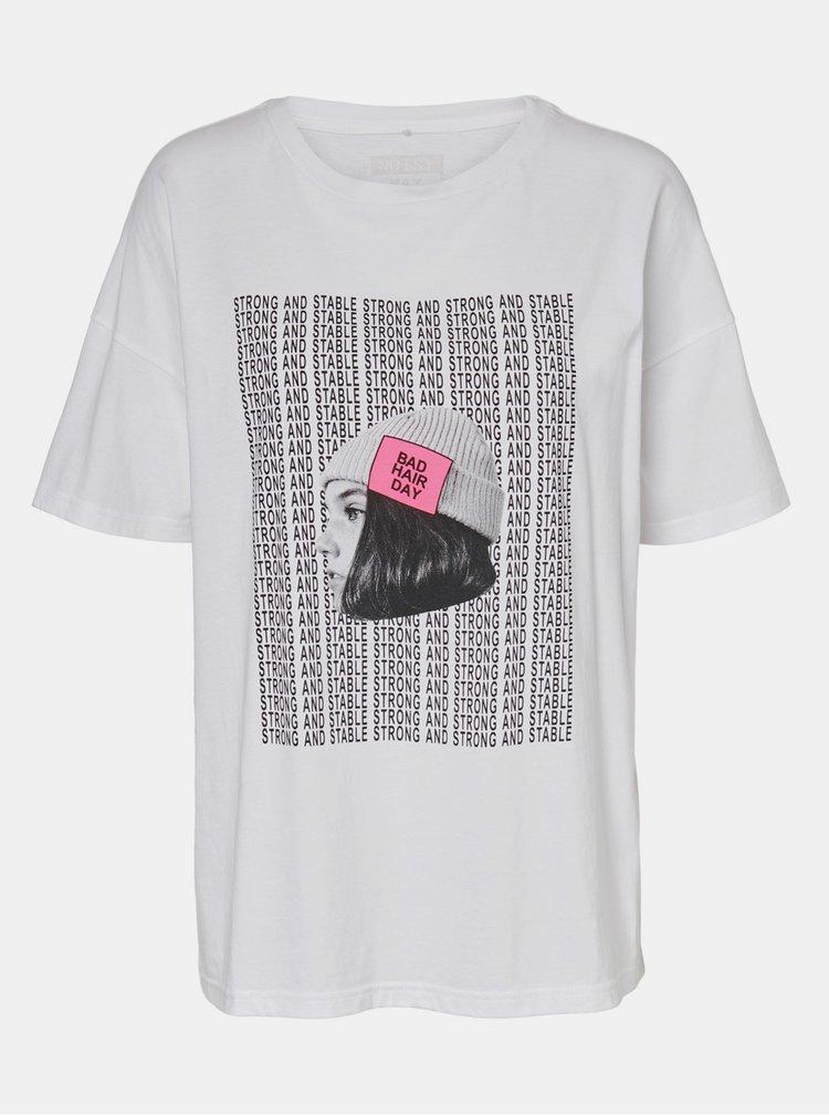 Biele voľné tričko s potlačou Noisy May Ida
