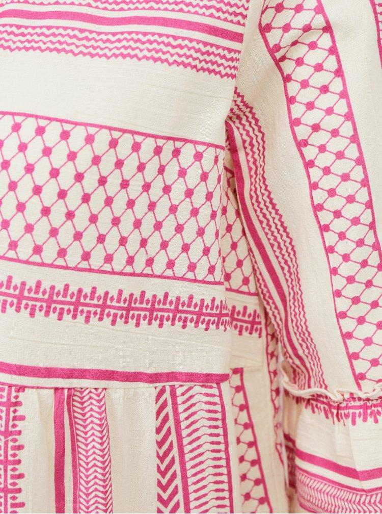 Růžové vzorované volné šaty VERO MODA Ditche