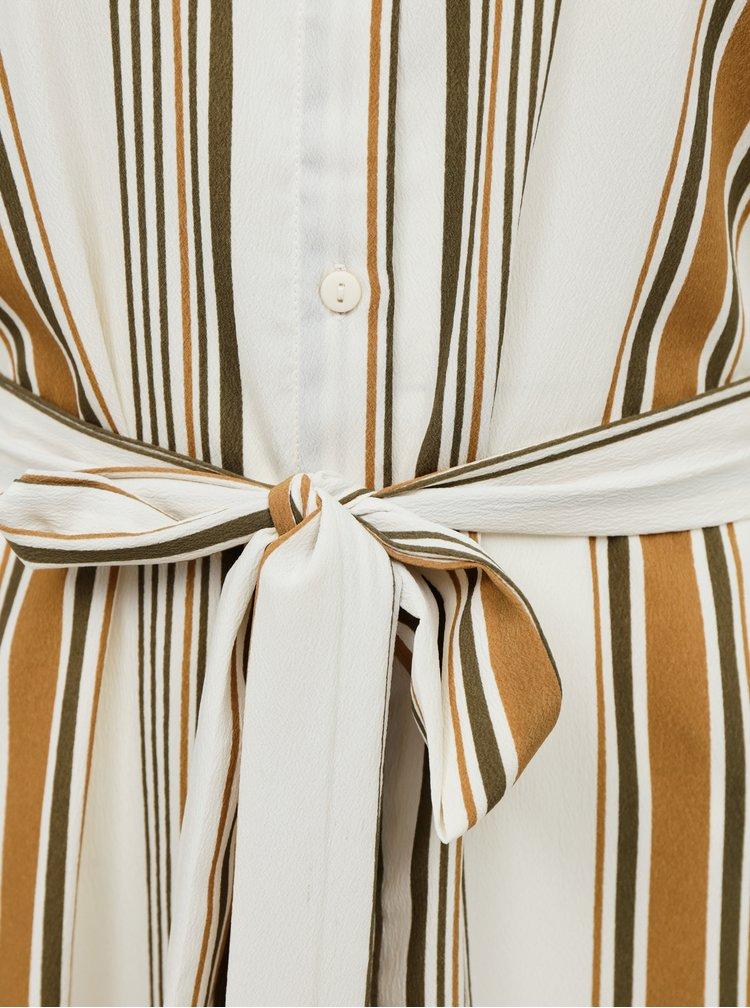 Béžové pruhované košilové maxišaty AWARE by VERO MODA Athens