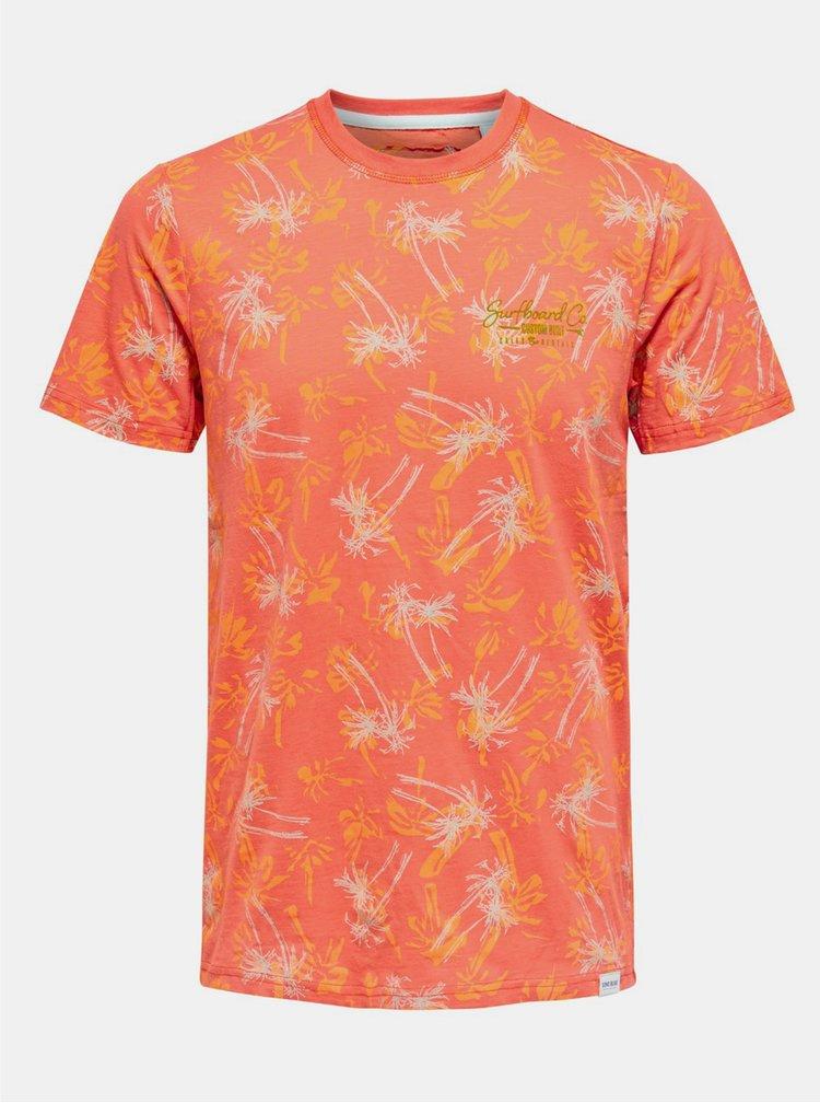 Oranžové vzorované tričko ONLY & SONS