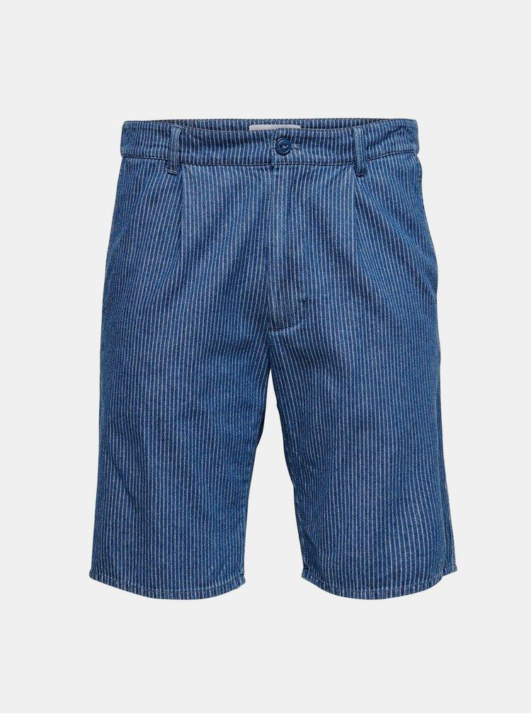 Modré pruhované kraťasy ONLY & SONS
