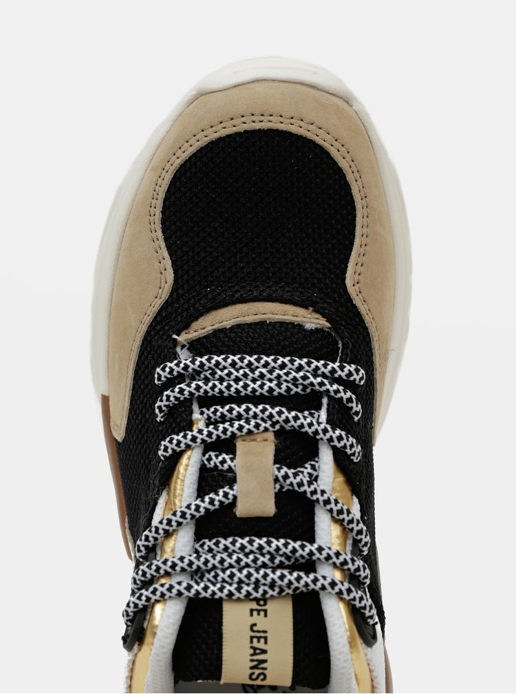Béžové dámské tenisky se semišovými detaily Pepe Jeans