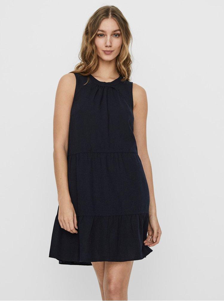 Tmavě modré lněné volné šaty VERO MODA Helen