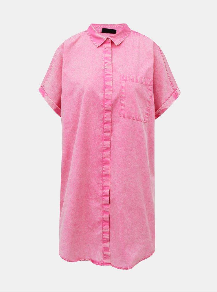 Růžové volné košilové šaty Noisy May Sadie