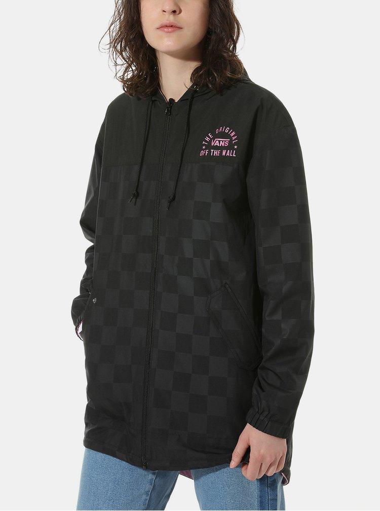 Černo-růžová dámská kostkovaná oboustranná bunda VANS