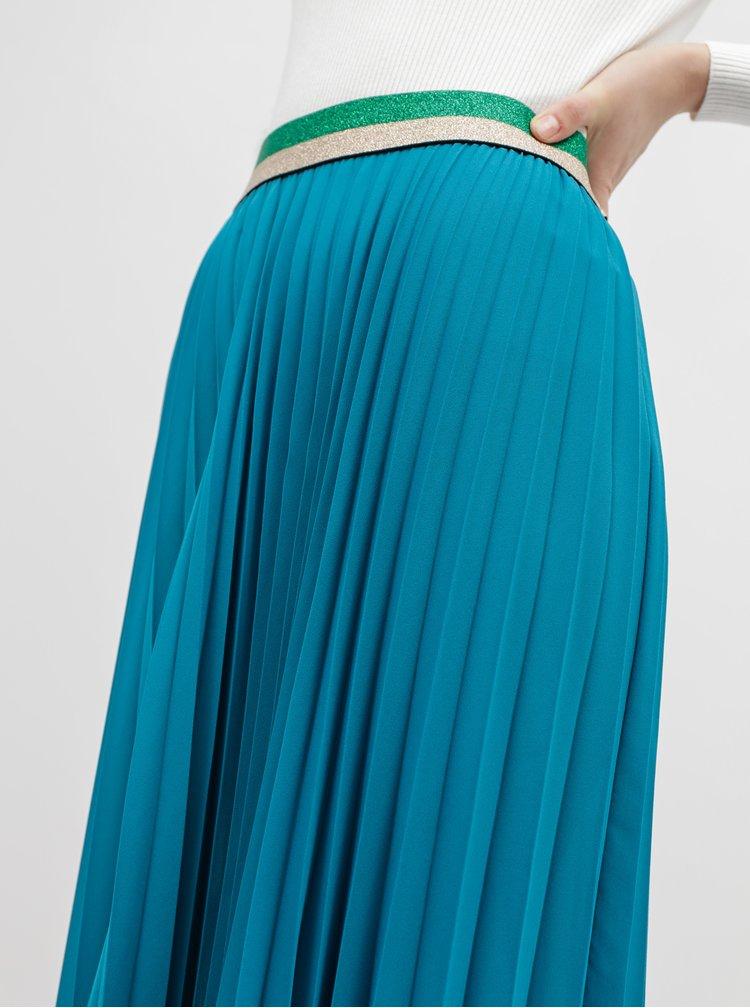 Modrá plisovaná maxi sukně M&Co