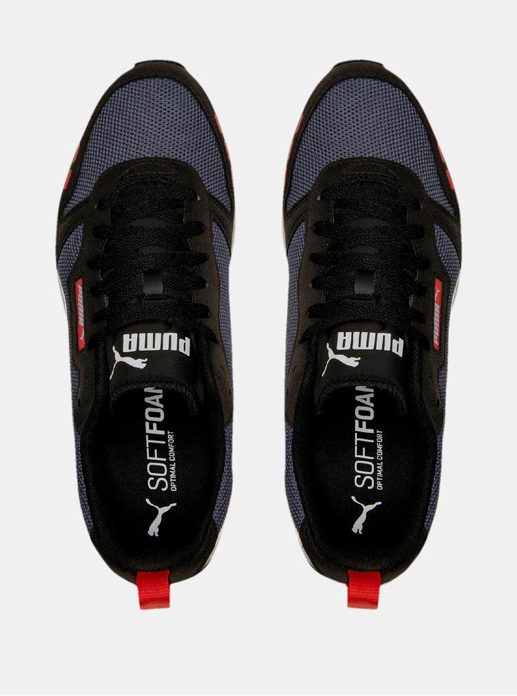 Černo-modré pánské tenisky se semišovými detaily Puma