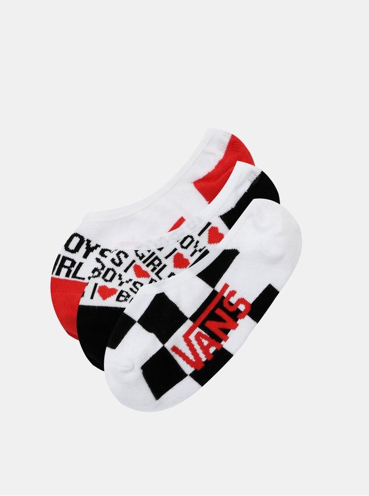 Sada třech párů ponožek v bílé a červené barvě VANS