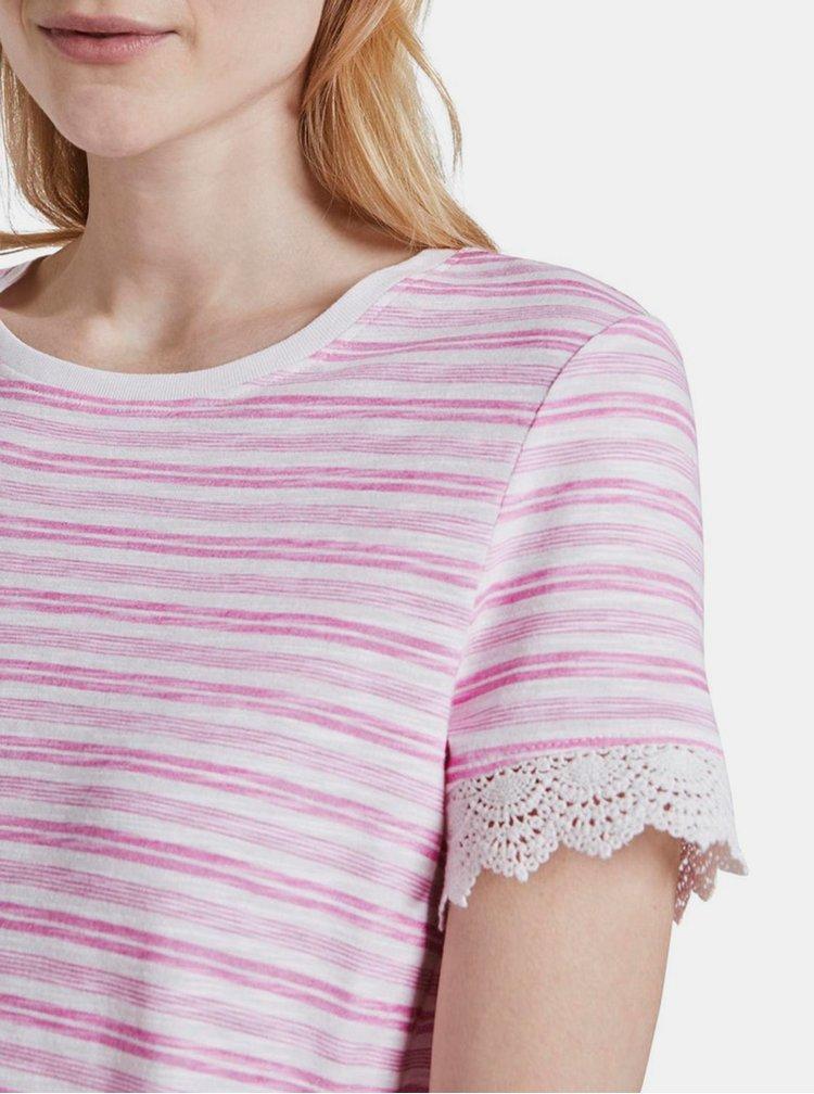 Růžové dámské pruhované tričko Tom Tailor Denim
