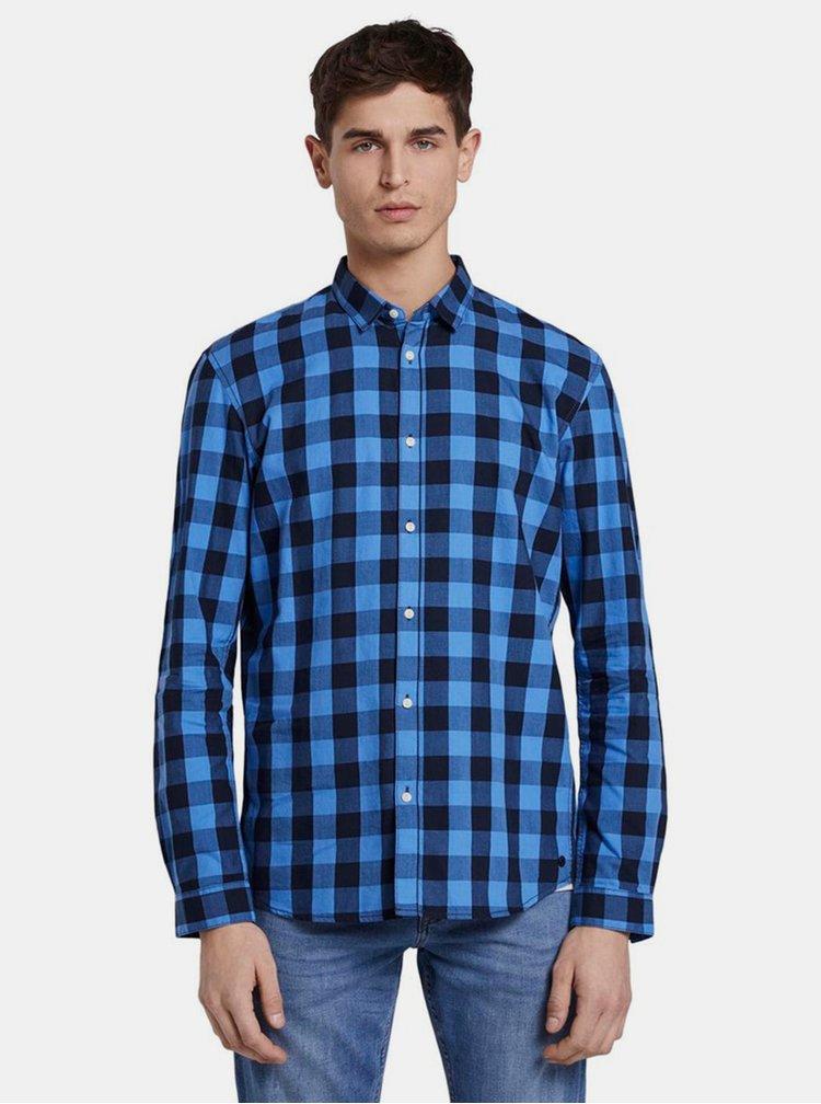 Modrá pánska kockovaná košeľa Tom Tailor Denim