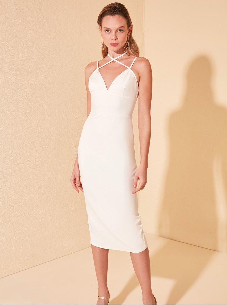 Bílé pouzdrové šaty Trendyol