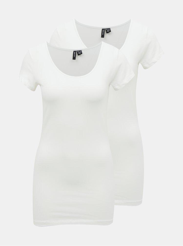 Sada dvou bílých basic triček VERO MODA Maxi