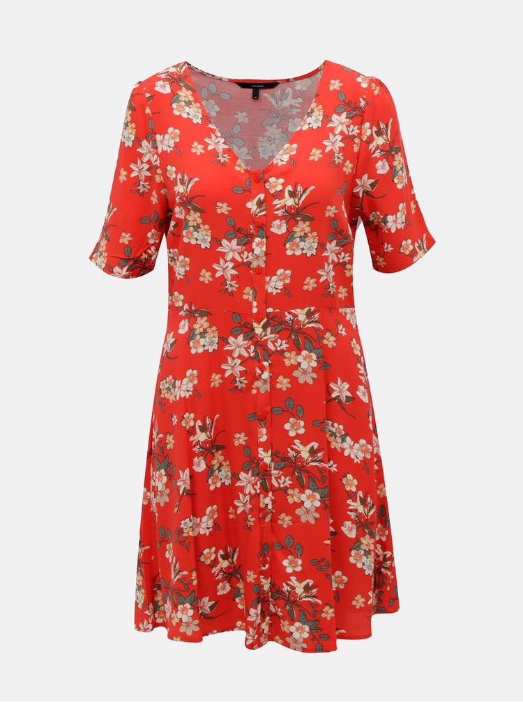 Červené květované šaty VERO MODA Simply