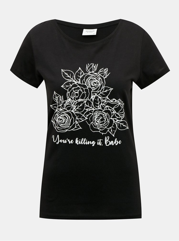 Černé tričko s potiskem Jacqueline de Yong Chicago