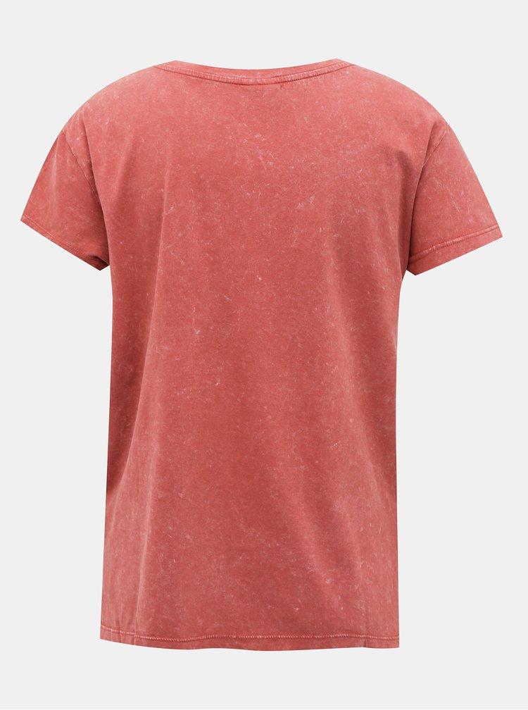 Cihlové tričko s potiskem Jacqueline de Yong Rock