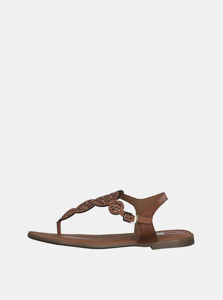 Hnědé dámské kožené sandály s.Oliver