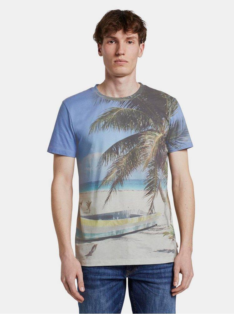 Tricouri pentru barbati Tom Tailor Denim - albastru, bej
