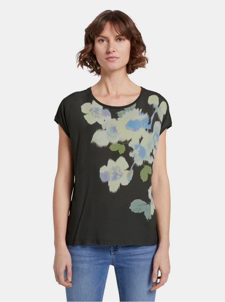 Khaki dámské květované tričko Tom Tailor