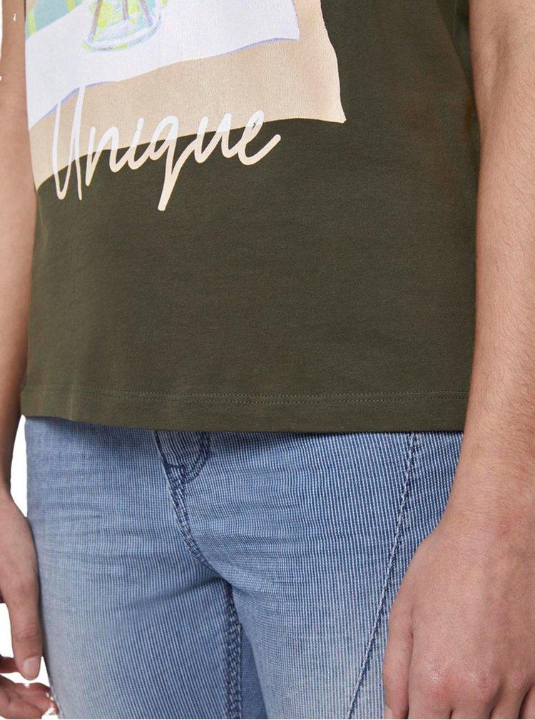 Kaki dámske tričko Tom Tailor