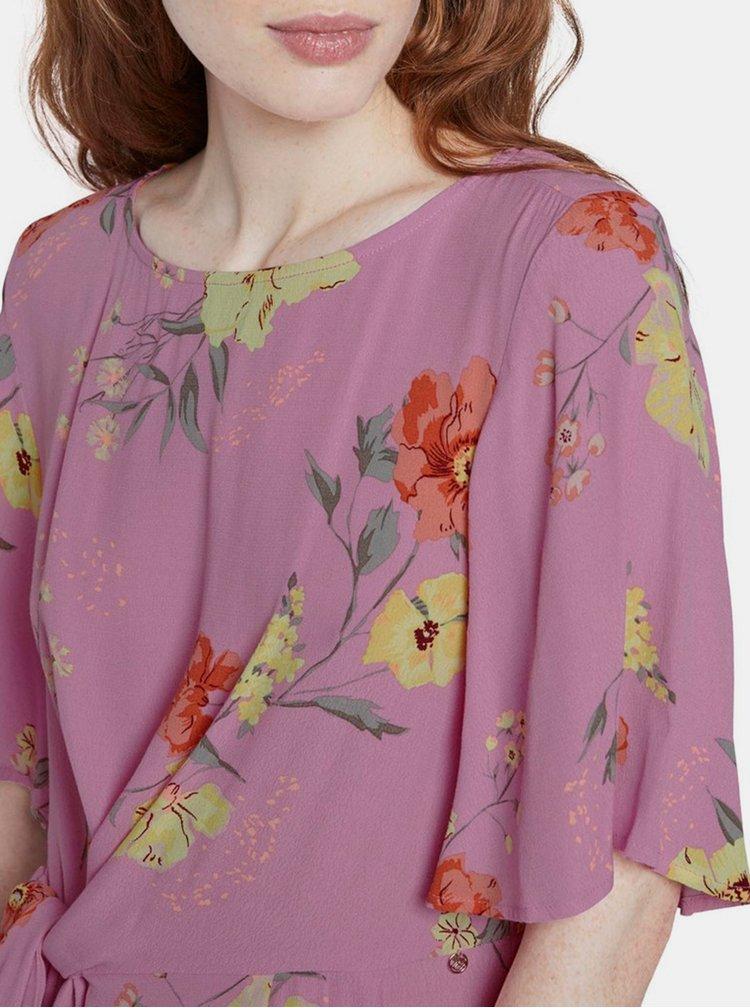 Růžové dámské květované šaty Tom Tailor Denim