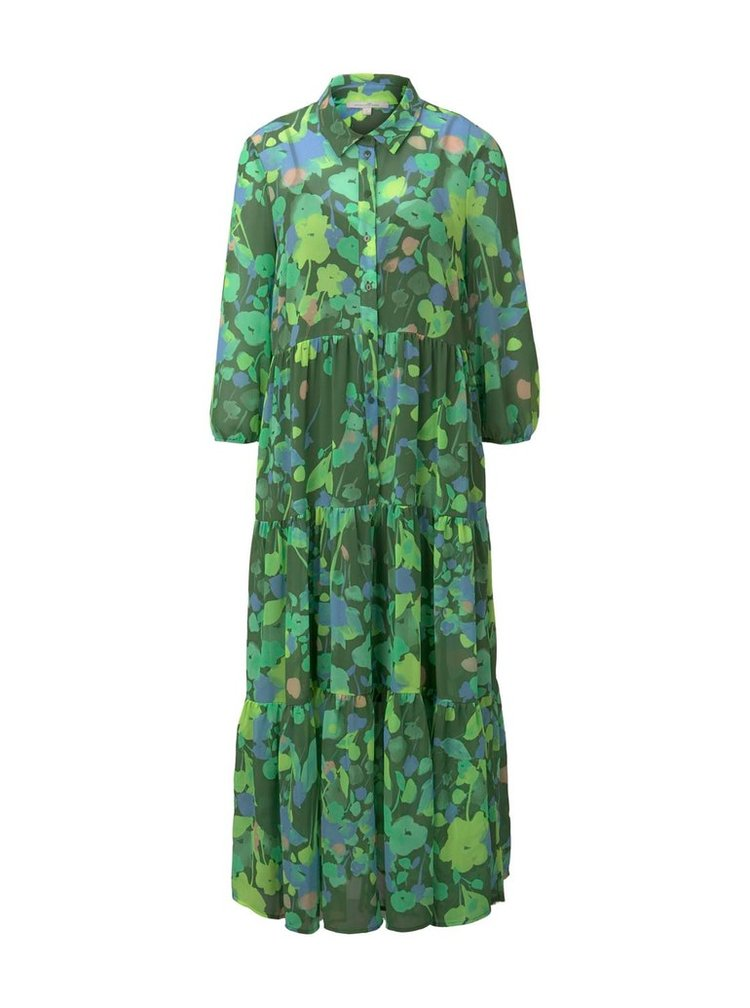 Zelené dámske vzorované košeľové midišaty Tom Tailor Denim