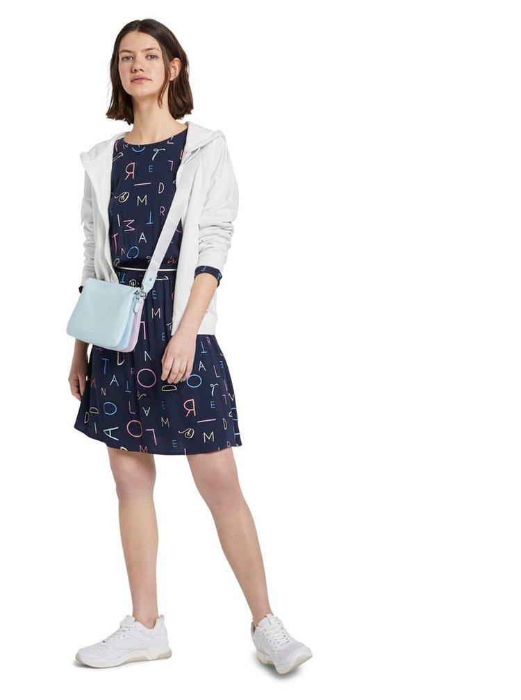 Tmavě modré vzorované šaty Tom Tailor Denim