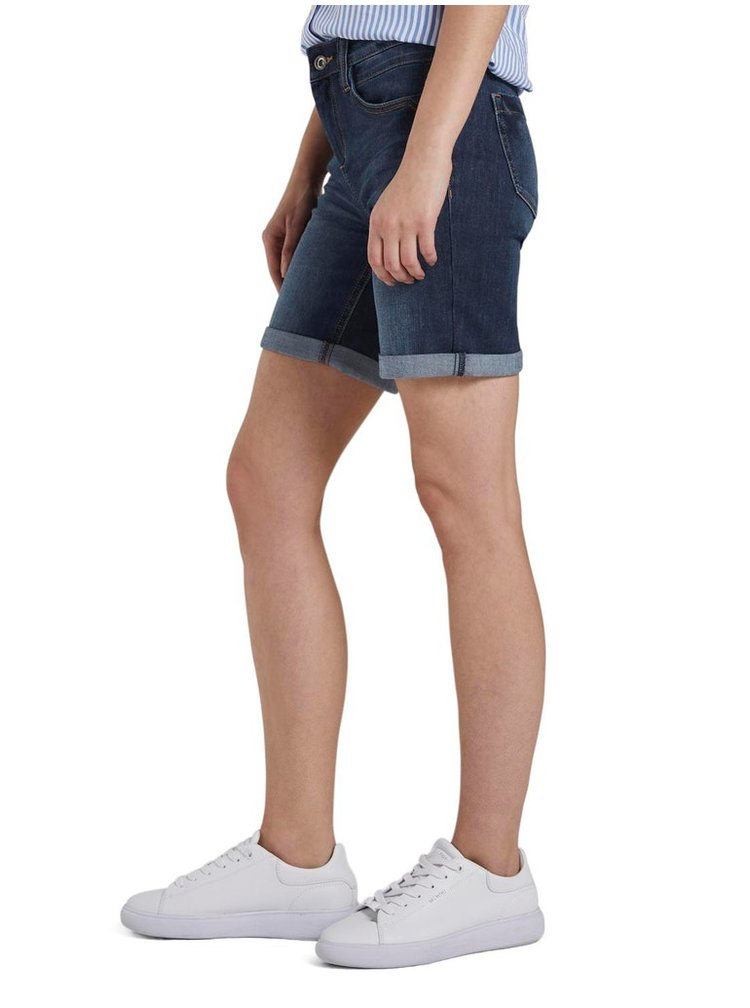 Tmavomodré dámske rifľové kraťasy Tom Tailor