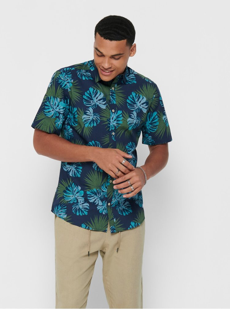 Modrá vzorovaná košile ONLY & SONS Timothy