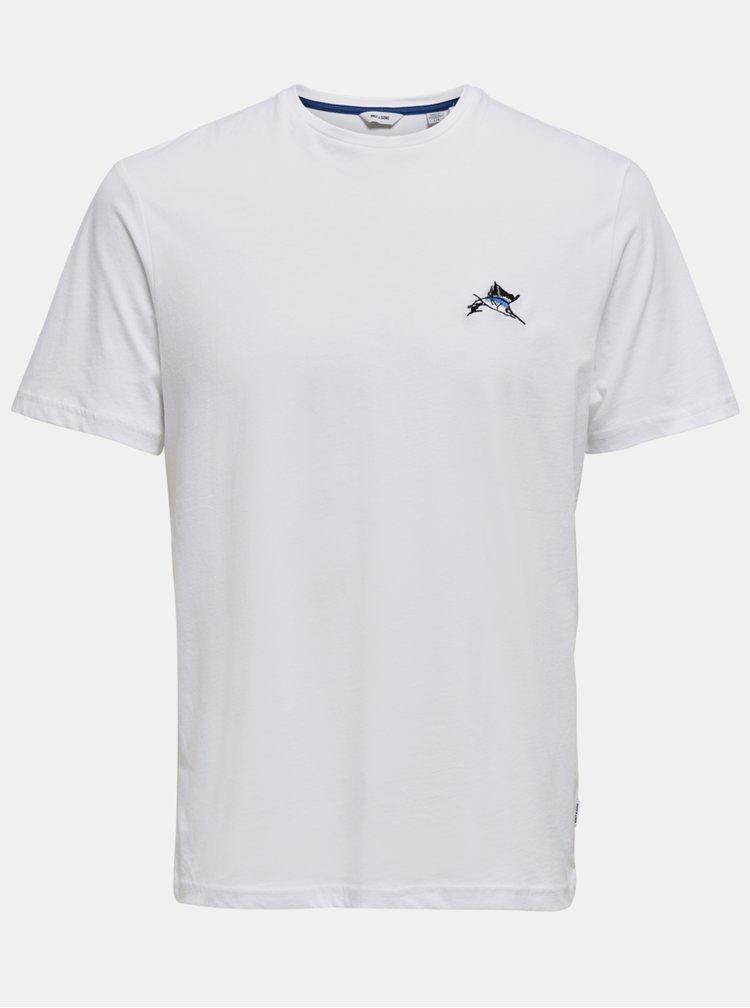 Bílé tričko ONLY & SONS Marlin