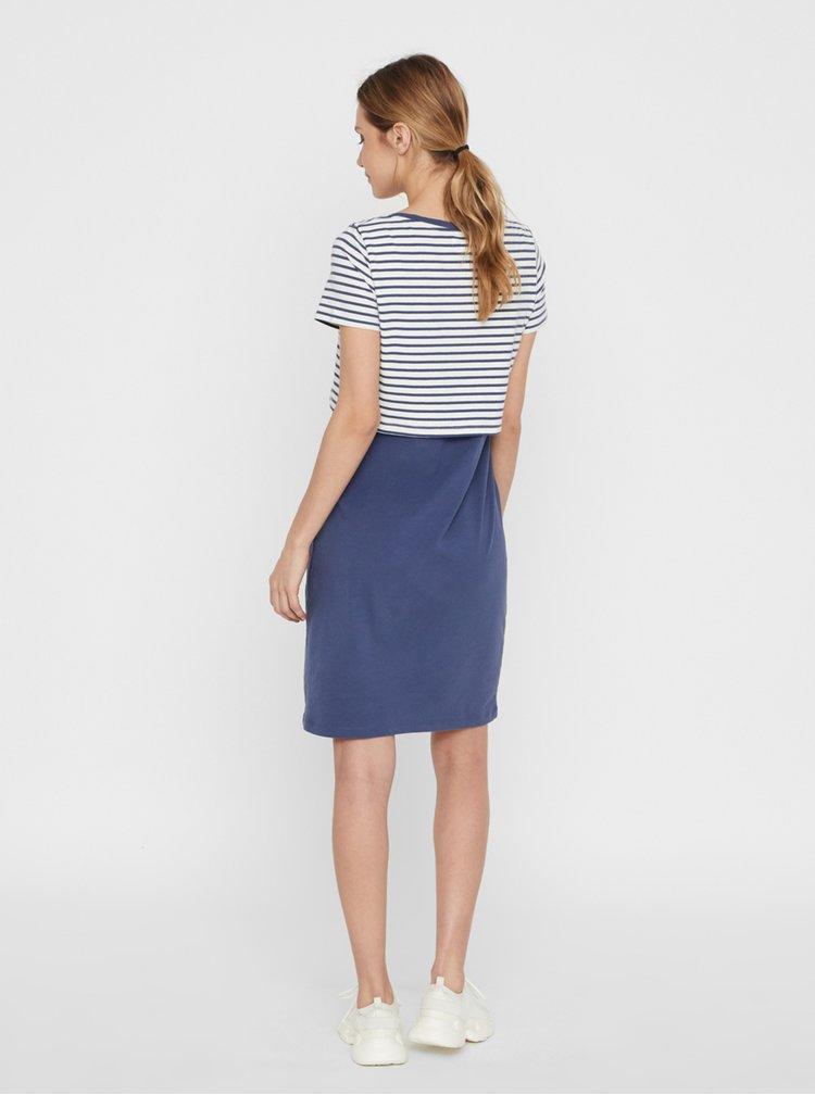 Modré pruhované těhotenské/kojicí šaty Mama.licious Cilla