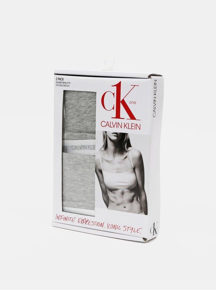 Sada dvou šedých podprsenek Calvin Klein Underwear