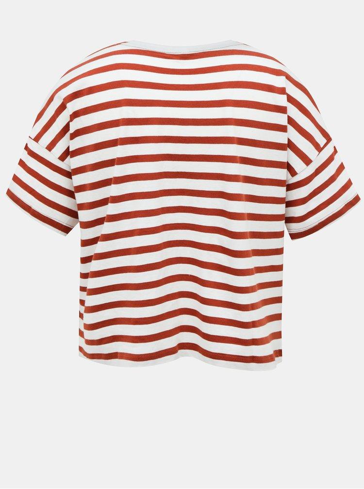 Bílo-hnědé pruhované volné tričko ONLY Marie
