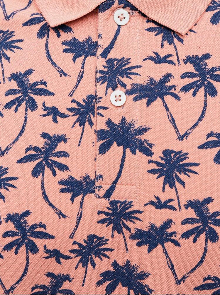 Růžové vzorované polo tričko Jack & Jones Pedro