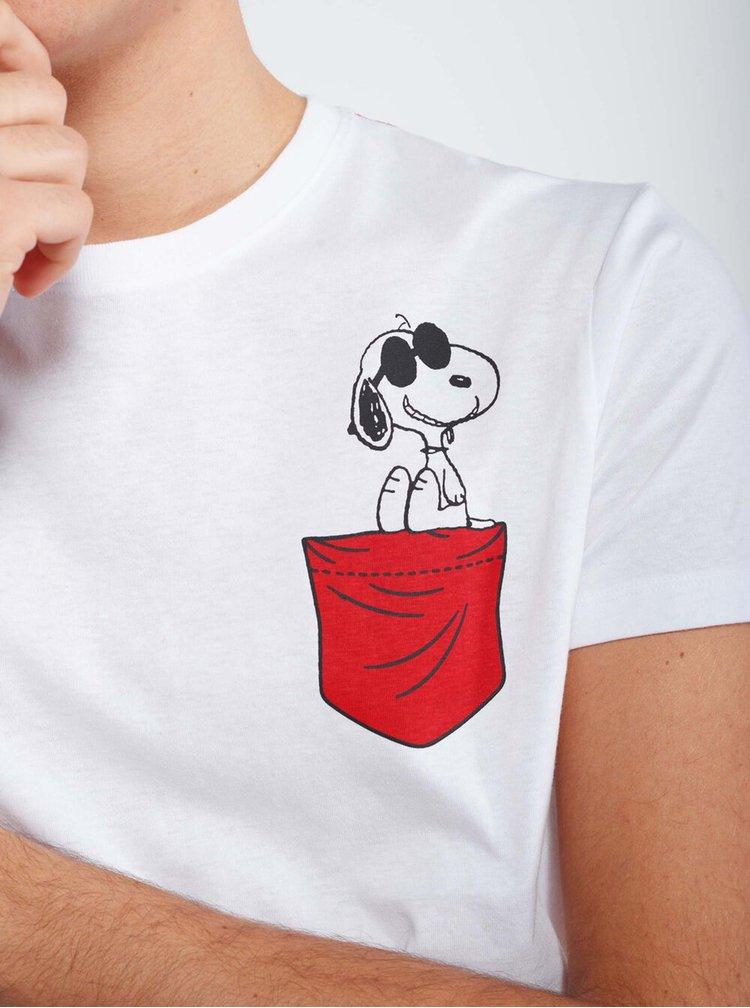 Bílé pánské tričko Alcott Snoopy