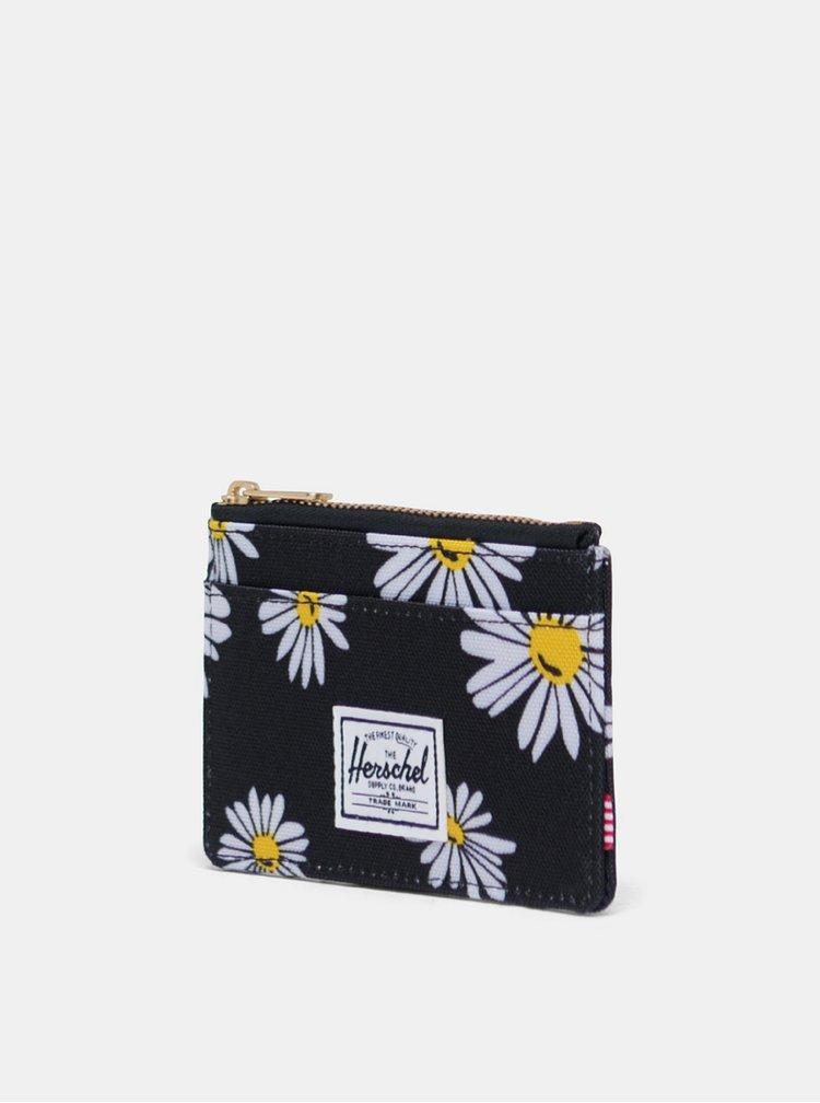 Černé květované pouzdro na karty Herschel Supply
