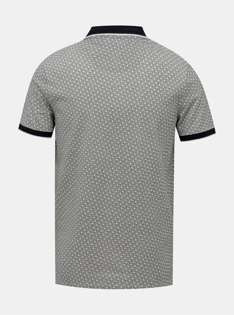 Šedé vzorované polo tričko Selected Homme Patterson