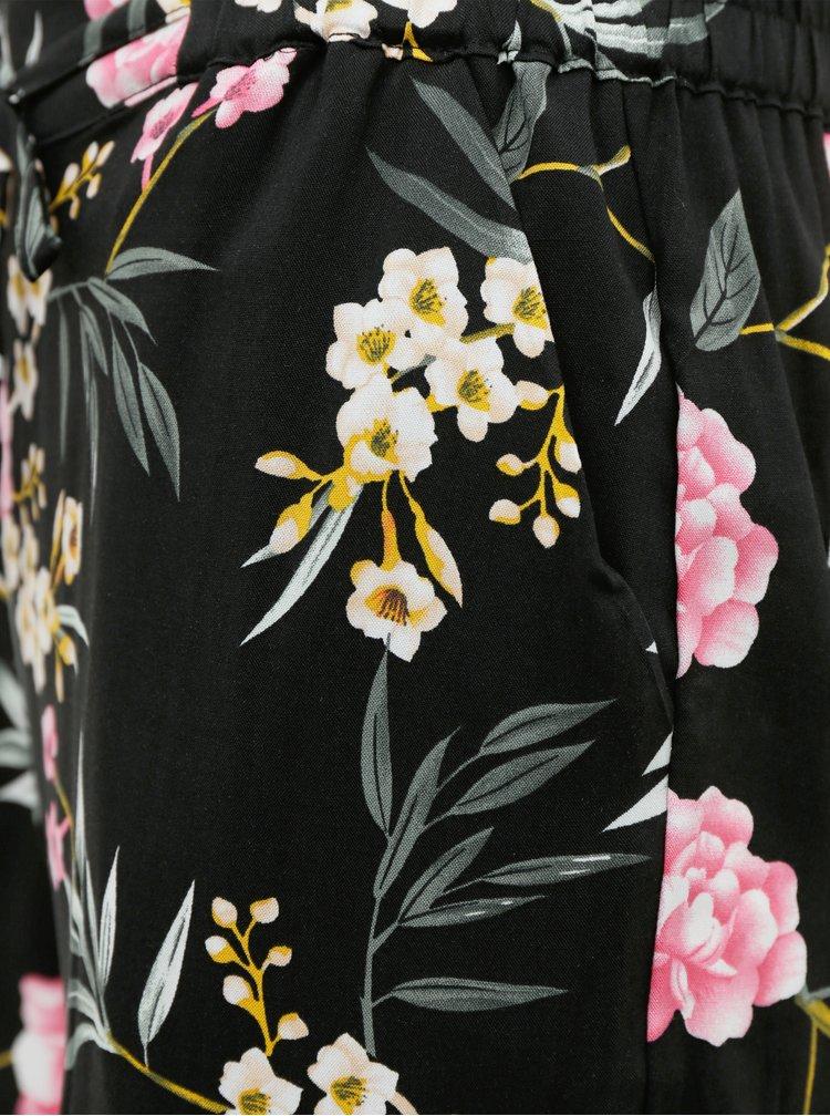 Černé květované kalhoty VERO MODA Simply