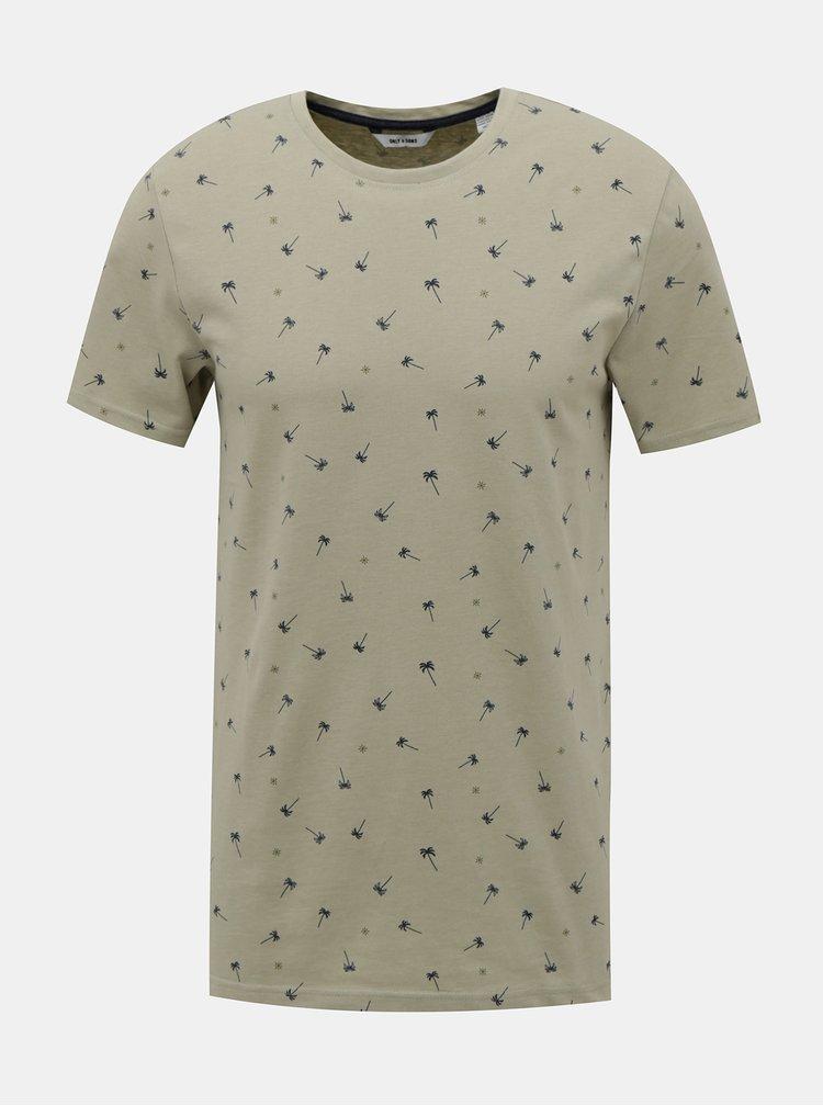 Béžové vzorované tričko ONLY & SONS