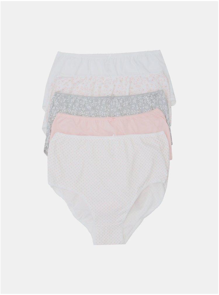 Sada pěti vzorovaných kalhotek v šedé a růžové barvě M&Co