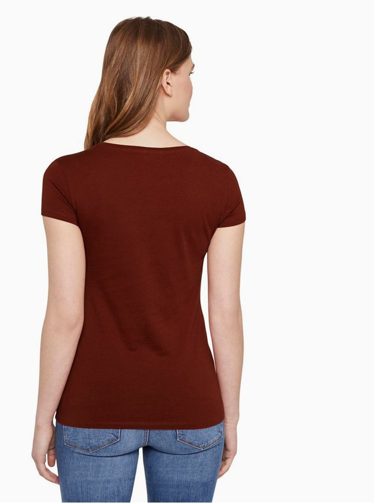 Hnědé dámské tričko Tom Tailor Denim