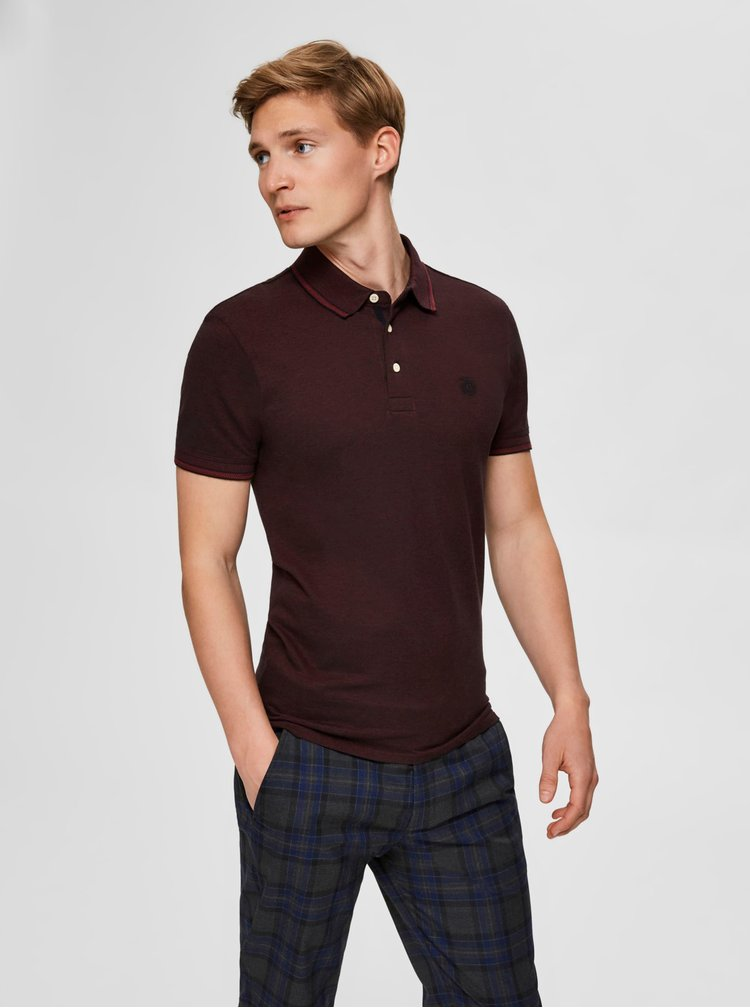 Vínové polo tričko Selected Homme Twist
