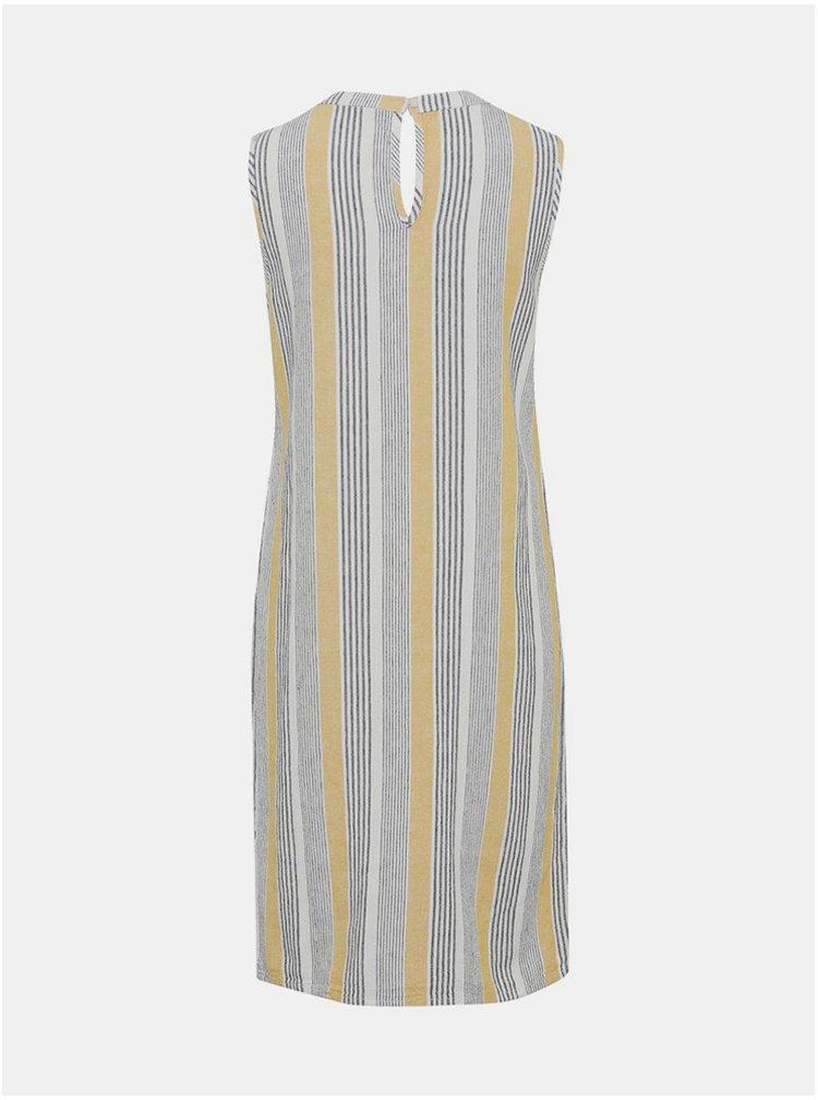 Šedé pruhované lněné šaty M&Co