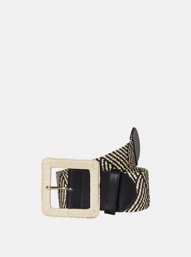 Krémové-černý vzorovaný pásek Pieces Corina